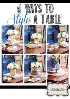 A look at 6 different ways to style a coffee table. Come see how accessories and positioning and change the look of a table and let me know which is your favorite!