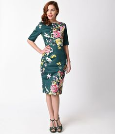 Vintage Deep Green Seville Floral Half Sleeve Hepburn Wiggle Dress