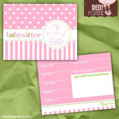 FREE Printable Babysitter Cards! Ensure your babysitter is prepared before you go out for the night.