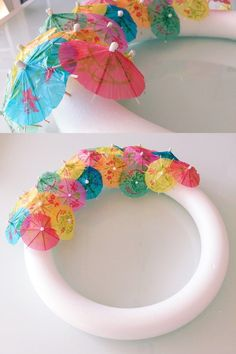 DIY Tutorial How To Make Your Own Paper Umbrella Wreath Perfect For Those Tropical