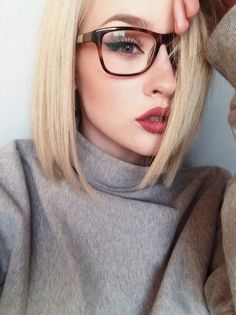 Image via We Heart It https://weheartit.com/entry/152508969 #blondehair #eyebrows #fashion #glasses #lipstick #prettyeyes