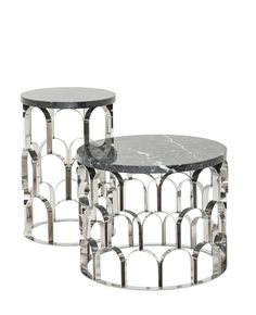 Ginger & Jagger | Ananaz Coffee and Side Table | Top negro marquina | Perpetuating the ananaz texture with desiring 3D geometrical pattern, this piece combines a mixture two pure materials metal and marble. The magnificence does not only come by the shape but also from the duality of hardness and softness, light and transparency.