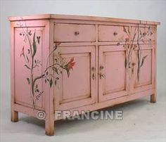 Floral pattern on pink cabinet