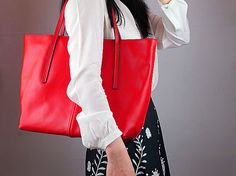 Real Leather Over Size Tote Bag  Red with Zipper  by EastWorkshop, $49.98