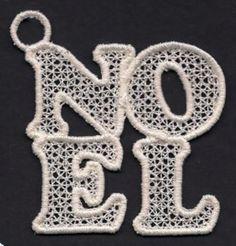 Free Embroidery Design: FSL Noel Christmas Ornament