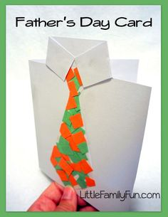 Little Family Fun: Card - Collage Tie! Kids will have fun making the crazy paper-collage tie for this Father's Day card using their current favorite colors! (pinned by Super Simple Songs) Fathers Day Art, Fathers Day Crafts, Happy Fathers Day, Art For Kids, Crafts For Kids, Arts And Crafts, Paper Crafts, Card Crafts, Paper Glue