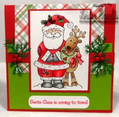 Stamps: Christmas Pals by High Hopes  Coming to Town by High Hopes Paper: Bazzill Basic colored cardstock Mohawk Bright White cardstock Recollections patterned paper Ink: Memento Tuxedo Black and Ladybug Red Copic Markers Other: Martha Stewart punch We r memory keepers brad