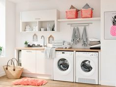 Laundry Room Doors, Laundry Area, Laundry Room Design, Removable Vinyl Wall Decals, Modern Laundry Rooms, Basket Shelves, Küchen Design, Stacked Washer Dryer, Bathroom Renovations