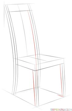 How to draw a chair step by step. Drawing tutorials for kids and beginners.