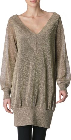 Vivienne Westwood Anglomania. Color: Metallic Gold. 75% Linen, 25% Metallic Lame. Deep v-neck. Loose over-sized fit through the torso and a fitted band at the bottom. Stretchy semi-transparent open knit fabric.   eBay!