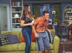 Picture: Bianca Kajlich and Oliver Hudson shirtless in 'Rules of Engagement.' Pic is in a photo gallery for 'Rules of Engagement' featuring 106 pictures. Bill Hudson, Oliver Hudson, Rules Of Engagement, Engagement Pictures, Bianca Kajlich, Cast Images, Goldie Hawn, Comedy Series, Tv Guide