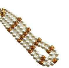 Multi Strand Coro Pearl Necklace with Gold Beads
