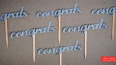 Stick these treat picks in cupcakes or sweet treats and say Congrats in a unique way! Great for wedding, bridal and engagement parties! Silver Glitter CONGRATS Letters -  $10.00 #engagement #party #bridal #shower #wedding #bride #engaged #putaringonit #groom #diy #inspiration #decoration #decor #bridesmaid #cupcake #topper #bling #ring #paper #idea #treats #dessert #table #glitter #custom #color #letters #script #font #text #celebration #huesstudio #valentine #valentinesday #cupcakes #cake