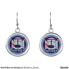 Red & Blue Ice Hockey Earrings Ice Hockey, Pocket Watch, Colorful Backgrounds, Red And Blue, Drop Earrings, Silver, Accessories, Jewelry, Jewlery