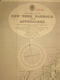 Original British Admiralty Sea Chart - United States East Coast New York Harbour And Approaches (Originally Published at the Admiralty 12th July 1951) Corrections to 1952 Circa 1952  A highly prized and collectable superb Gift for a Yachtsman  A fantastic totally original sea chart (not modern reprint) that would look superb, framed and hung in a contemporary apartment, house in any classical study. This chart was acquired from an antique sale in western England with many others from around…