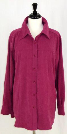 Deinim & Co. Moleskin Long Sleeve Tunic Button Front Blouse Raspberry Pink…