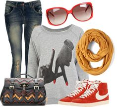 """Orange & Yellow"" by tyraamail ❤ liked on Polyvore"