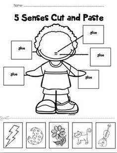 Five Senses Labeling Cut and Paste by PreKinders in Paradise Body Parts Preschool Activities, Five Senses Preschool, My Five Senses, Preschool Literacy, English Activities, Kindergarten Science, Free Preschool, Five Senses Worksheet, Cut And Paste