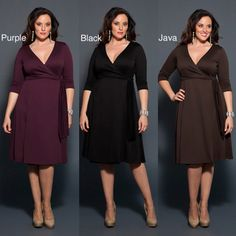 @Overstock - This faux wrap women's dress features waist-defining ruching and 3/4-length sleeves. A surplice bodice with V-neckline and a fabric tie at the waist add shape and style to this dress.  http://www.overstock.com/Clothing-Shoes/Kiyonna-Poetic-Womens-Classic-Wrap-Dress/6634987/product.html?CID=214117 $67.99
