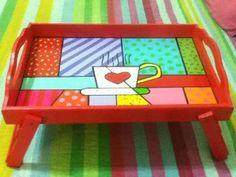 Dibujos Para Pintar Bandejas De Madera Decoupage Furniture, Painted Furniture, Painting For Kids, Painting On Wood, Painted Trays, Hand Painted, Wooden Crafts, Diy And Crafts, Posca Art