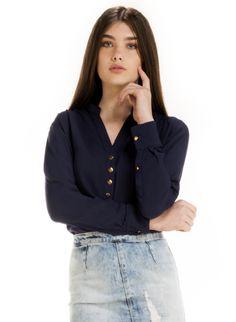 blusa bata feminina marinho principessa aldine botoes look