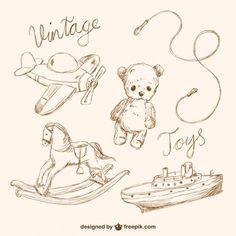 Toy Vintage rabisca coleção Vetor grátis