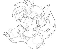 Free Printable InuYasha Shippo Smile Coloring Pages