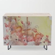 Poppy red and sunny yellow design Small  furniture with art print by StudioRS Designs
