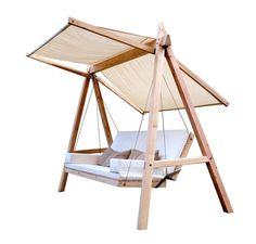 The comeback of the Hollywood swing Backyard Swings, Pergola Swing, Porch Swing, Modern Patio Design, Wood Swing, Swing Design, Steel Furniture, Swinging Chair, Diy Patio