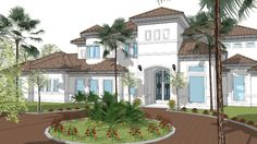 Large custom Story Mediterranean Home w full landscape 3d Warehouse, Mediterranean Homes, Sketch Design, Residential Architecture, Land Scape, Villa, Sculpture, Traditional, Mansions