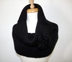 Chunky Knit Cowl with Crochet Flower Infinity Scarf by Nikifashion