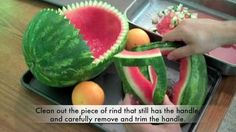 How to Carve a watermelon baby stroller filled with fruit