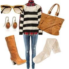 love the striped sweater w/ plaid