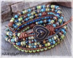 Seed Bead Bracelet/ Leather Bracelet/ Wrap by AZJEWELRYBYELIZABETH