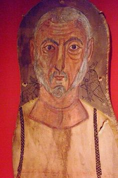 Mummy portrait of Elderly Man Flanked by Egyptian Gods Egypt Roman 250 CE Tempera on sycamore