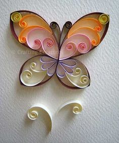 Easy Paper Quilling Butterfly craft for kids ~ variety of pattern ideas too Quilling Butterfly, Arte Quilling, Paper Quilling Designs, Quilling Paper Craft, Butterfly Crafts, Paper Crafting, Diy Paper, Simple Butterfly, Paper Butterflies