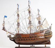"Soleil Royal Tall Ship Wooden Model 28"" French Warship"