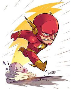 Throwback. Chibi Flash. Prints available at www.dereklaufman.com (link in my profile) #flash #barryallen #dcheroes #chibi #fanart #dereklaufman
