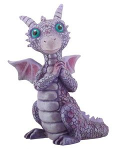 Real Baby Dragons | Purple and Pink Horned Baby Dragon Statue Figure Fantasy Décor