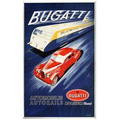 "Original ""Bugatti Automobiles Autorails"" Poster"