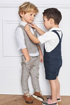 Buy Neutral Linen Blend Waistcoat, Shirt & Bow Tie Set (3mths-6yrs) online today at Next: United States of America