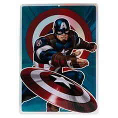 "Captain America is coming right atcha! His signature shield takes on extra energy with our shiny prismatic treatment. This action-packed tin sign will be the hero of your movie or game room.  Marvel officially licensed product Product Category: Metal Signs & Wall Art Material Description: Embossed Metal Size: 10"" W X 14"" H X 0.125"" D Weight: 0.6 LBS Open Signs, Dc Comics Superheroes, Metal Signs, Wall Signs, Emboss, Captain America, Comic Books, Marvel, Wall Art"