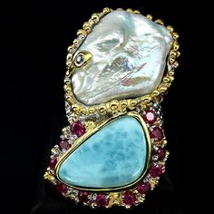 VERY-RARE-REAL-LARIMAR-PEARL-RUBY-SAPPHIRE-925-SILVER-BIG-RING-SIZE-7-HANDMADE
