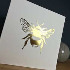 Handmade Blank Greeting Card ~ Golden Bee ~ Nature Themed Greeting Card by StickandPasteCards on Etsy Blank Cards, Me On A Map, I Card, Bee, Greeting Cards, Nature, Gifts, Handmade, Etsy