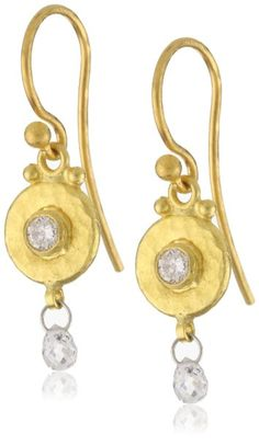 "Amazon.com: GURHAN ""Droplet"" White Diamond Briolette On Granulated Hook Earrings: Jewelry"