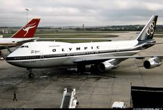 """Olympic Airways Boeing SX-OAC """"Olympic Spirit"""" at Melbourne-Tullamarine, April (Photo: David Tanner) Boeing 707, Boeing Aircraft, Olympic Airlines, Melbourne Tullamarine, Jumbo Jet, Commercial Aircraft, Civil Aviation, Aircraft Pictures, Jet Plane"""