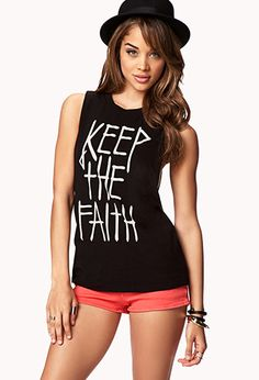 Keep The Faith Muscle Tee   FOREVER21 - 2061311341 #ForeverHoliday
