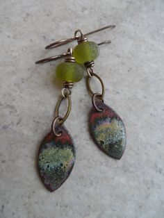 Olive Leaf ... Enameled Copper Charms Lampwork and Brass Wire-Wrapped Rustic Boho Earrings (46.00 USD) by juliethelen - handmade - jewelry - jewellery - artisan - etsy