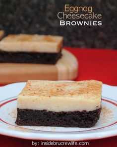 Eggnog Cheesecake Brownies | Inside BruCrew Life