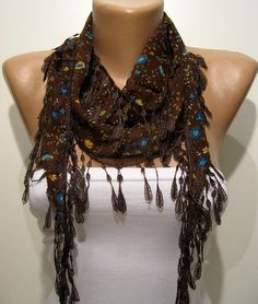Brown and Flowered Elegance Shawl / Scarf with Lace by SwedishShop, $11.90